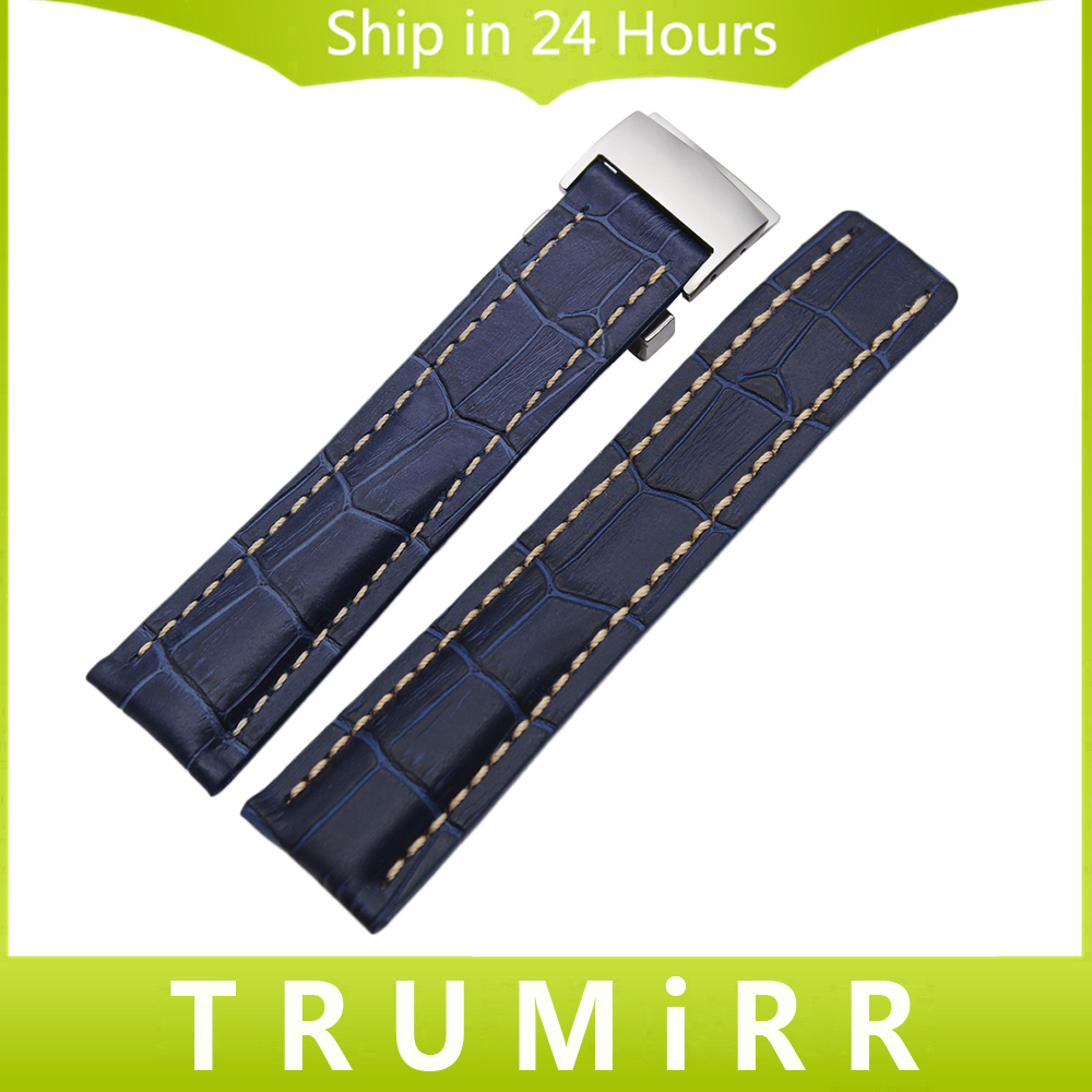 22mm 24mm Genuine Leather Watchband +Tool for Avenger Transocean Superocean Replacement Watch Band Wrist Strap Blue Brown Black 24mm nylon watchband for suunto traverse watch band zulu strap fabric wrist belt bracelet black blue brown tool spring bars
