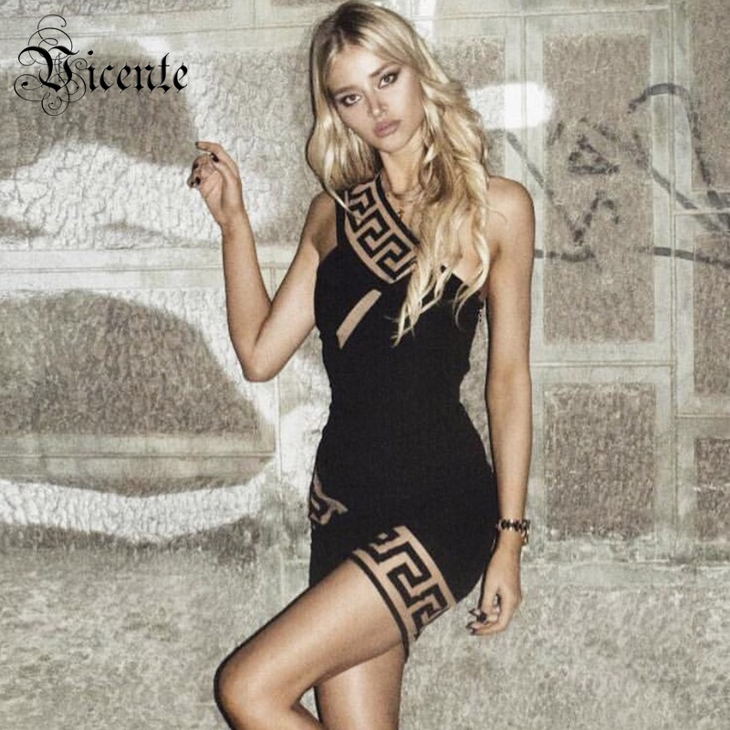 2018 New Free Shipping! Trendy Elegant Geometric Sexy One Shoulder Sleeveless Mini Wholesale Women Celebrity Party Bandage Dress