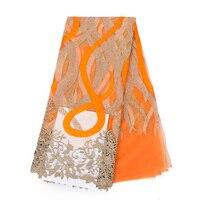 2018 высокое качество нигерийское французское кружево африканская кружевная ткань для вечеринки платье 5 ярдов/партия FC1623 tnw оранжевая африк