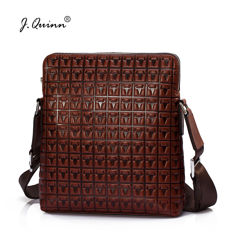 J.Quinn Male Female Cow Leather Crossbody Shoulder Bag for Men Women Casual Messenger Bags Genuine Leather Retro Fashion Design fashion matte retro women bags cow split leather bags women shoulder bag chain messenger bags
