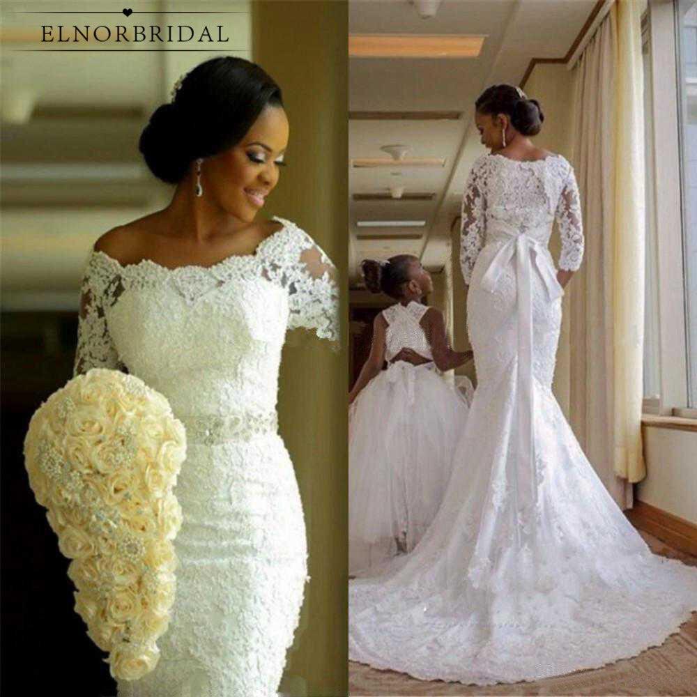Modest African Mermaid Lace Wedding Dresses 20 Vestido De Noiva Handmade  Black Women Girls Long Sleeve Bridal Gowns