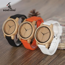 BOBO BIRD B08 Luxury Watch Ladies Bamboo Wood Quartz Watches With Colorful Silicone Straps relojes mujer