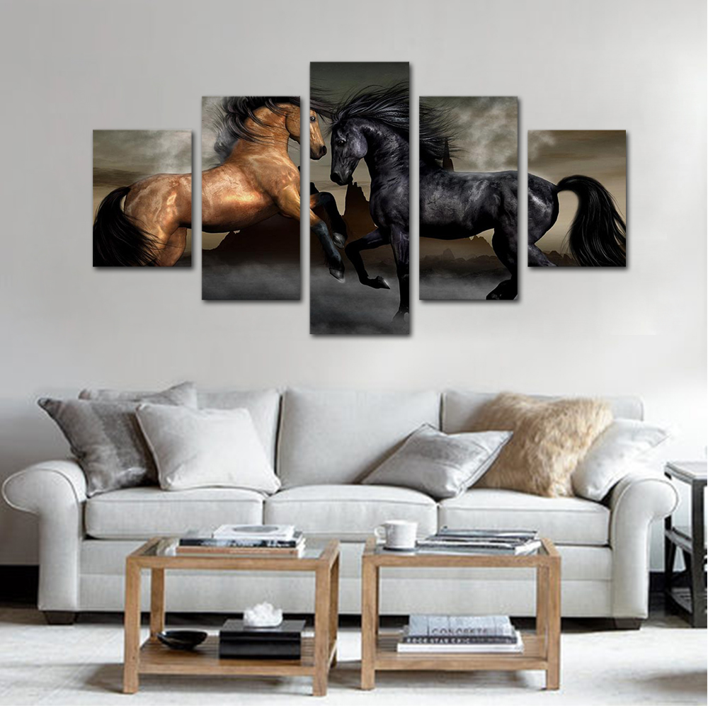 Unframed HD Print 5 Canvas Art Paintings Two batches of horses Canvas Mural Living Room Decoration Picture Free Shipping