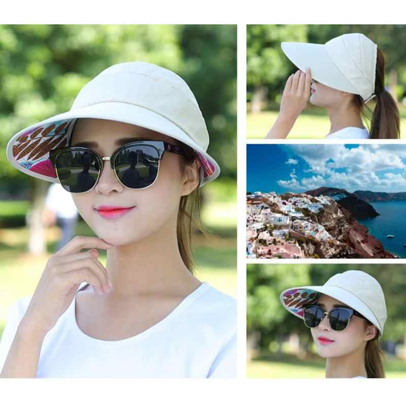 ac7c9b7a99d908 Summer Sun Protection Folding Sun Hat for Women Wide Brim UV Protection Sun  Hat Beach Packable
