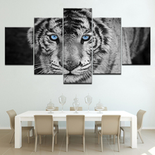 The blue eyes tiger animal 5 piece Wallpapers modern Modular Poster art Canvas painting for Living Room Home Decor цены