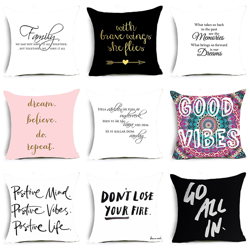 DecorUhome Nordic Encouragement Letter Cushion Covers The Walking Dead Polyester Pillow Cover Sofa Nordic Decorative Pillow Case