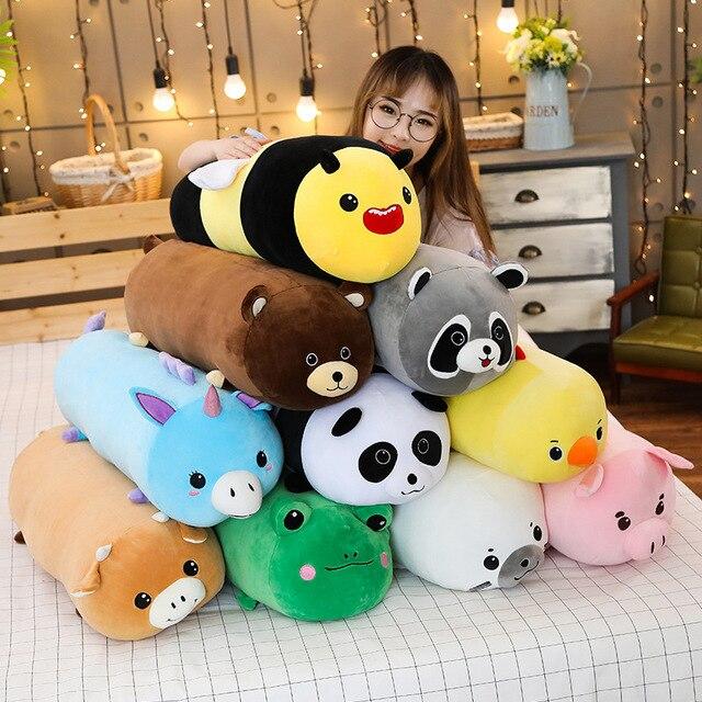 Joint Animal en peluche, joint Animal licorne raton laveur, joint, coussin pour dormir doux, poupées, jouets de dessin animé pour bébés, 50/60/80CM, 1 pièce