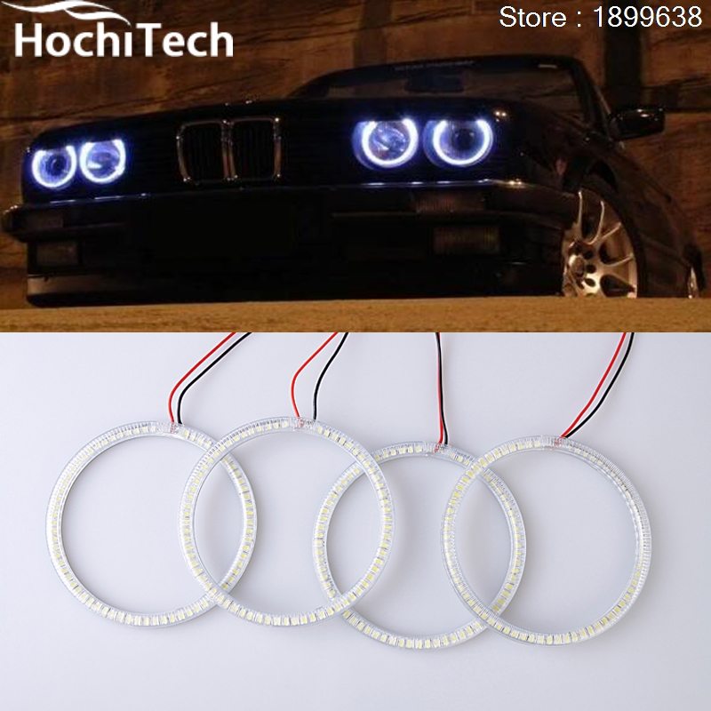 Ultra bright SMD white LED angel eyes 1600LM 12V halo ring kit for for bmw E30 E32 E34 1984 1985 1986 1987 1988 1989 1990 hella black для bmw e34