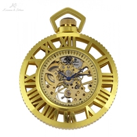 KS Elegant Skeleton Casing Roman Mechanical Pocket Watch Men Vintage Hand Wind Clock Pocket Fob Watches