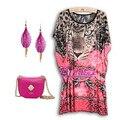 Plus size 2016 outono nova verão moda feminina leopardo tigre impressão vestidos retro vintage casual túnica vestido 3XL 4XL losse