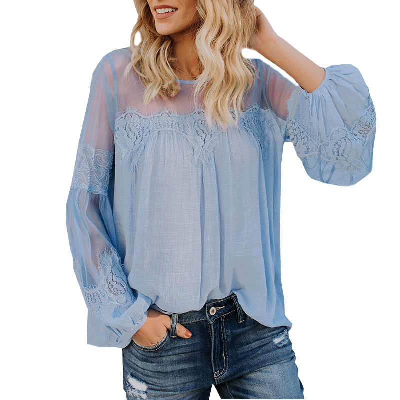 Fashion Long Wide Lantern Sleeve Blue Blouse Women Lace Hollow Out Blouses Shirts Female 2018 Spring Autumn O-Neck Tops ZS222