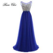 Vestidos de Fiesta Длинные вечерние платья королевский синий тюль ТРАПЕЦИЕВИДНОЕ официальное длинное платье с круглым вырезом размера плюс