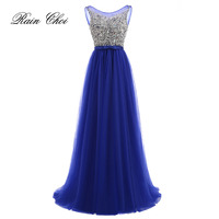 2016 Evening Dress Formal Party Prom Dresses Gown Tulle Sequin Sheer Neck Lace Backless Green Blue