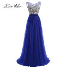 Vestidos de Fiesta 2019 Long Evening Dresses Royal Blue Tulle A line Formal Long Dress O Neck Plus Size