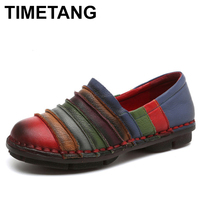 TIMETANG Handmade 100 Genuine Leather Women Flats Shoes Fashion Patchwork Loafers Oxfords Shoes For Women Vintage