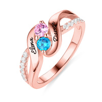 AILIN Birthstone&Name Customization Promise Ring For Her Women Double Birthstone Engagement Ring In Rose Gold Ring For Lady