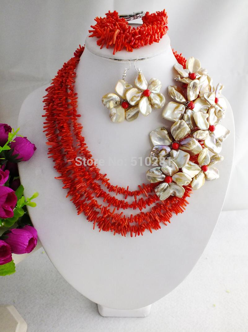 free shipping !!! Z-1637 Fashion New Design Red Branch Coral Beads Jewelry Set