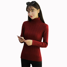 Women Turtleneck Knitted Sweater 2019 Autumn Winter Slim Bottoming Sweater Solid color Long sleeves warm Pullover Knitwear FC95 long sleeves striped pullover knitwear