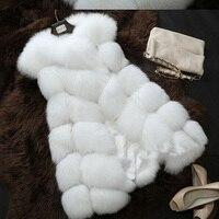 Faux Fur Coat Winter Women Fashion Streetwear Casual Warm Sleeveless Faux Fox Fur Vest Casaco Feminino