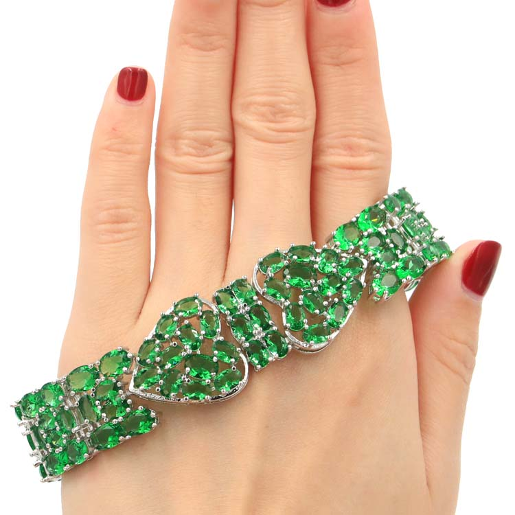 Special Big Heavy 35 4g Green Emerald Woman s Present Silver Bracelet 7 5 8 0in