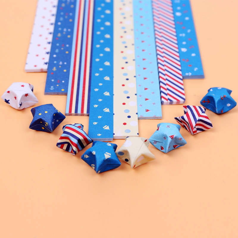 160PCS Origami Paper Stripe Folding Lucky Stars For New Year Gift Handmade Star Gift Creative Decorative Origami Paper Crafts