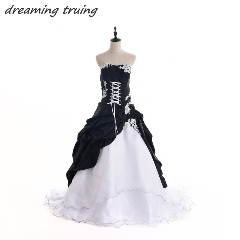 Gothic Black Lace Wedding Dress Long Ball Gown Bridal Gown: Vintage Style Black And White Wedding Dress Victorian Ball
