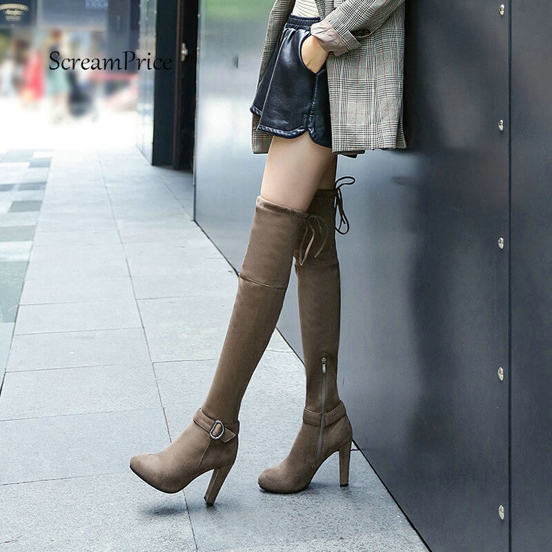 Women Zipper Over the Knee Boots Flock Leather Square High Heel Thigh Boots Round Toe Lace Up Fashion Boots platform square heel half short real leather boots women fashion round toe zipper shoes lace up female bootie size 34 39