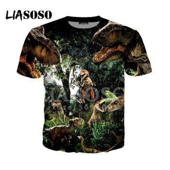 Liasoso 3D プリントレディースメンズ tシャツジュラ紀世界 2 堕王国ジュラシックパーク 5 tシャツヒップホッププルオーバー半袖 x0861