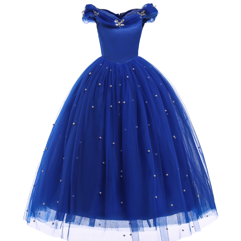 2018 Summer Cinderella Princess girls dress Blue Long Shoulderless dresses Kids Party dress birthday girl party costume clothes music note party swing dress