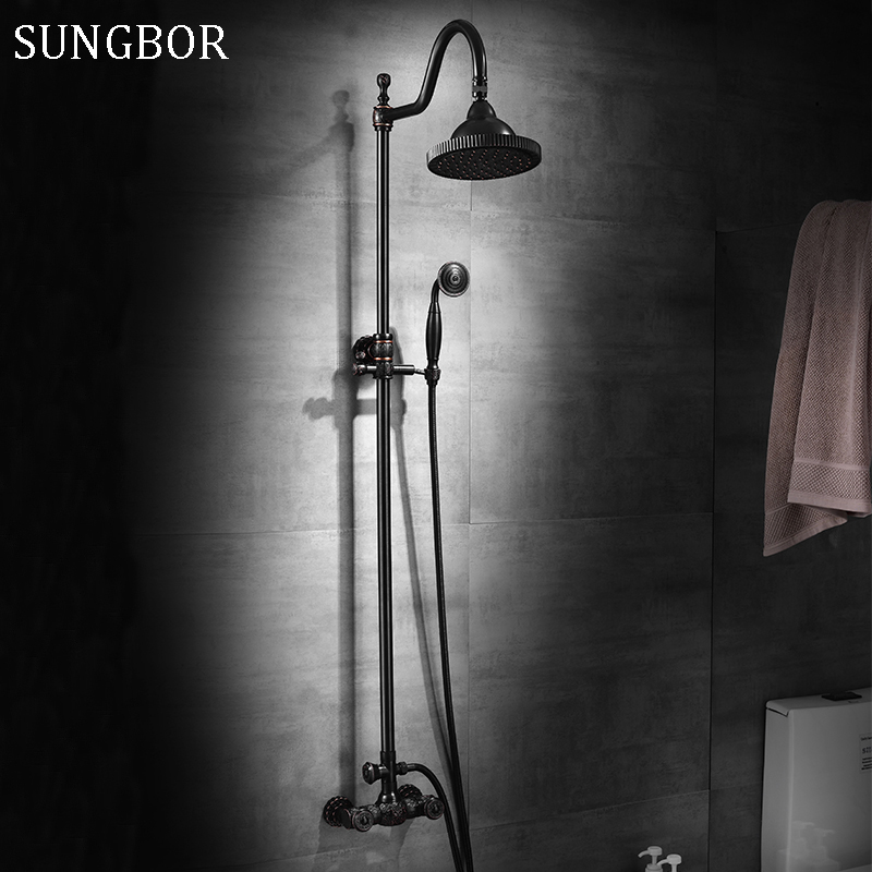 Brass Wall Mounted Black Oil Rubbed Bronze Bathroom Rain Shower Faucet Set Bath Tub Hot Cold Mixer Tap Dual Cross Handles 5574H free shipping polished chrome finish new wall mounted waterfall bathroom bathtub handheld shower tap mixer faucet yt 5333