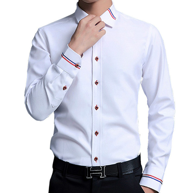 609eb1a6a4e1 5XL Oxford Mens Dress Shirts Long Sleeve Business Casual Office Shirt Men  Slim Fit Turn Down Collar White Blue Pink Formal Cloth
