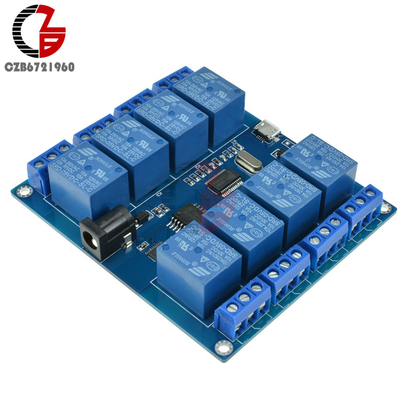 DC 5V 10A 8 Channel Relay Module Micro USB Board With Indicator PC Upper Computer ICSE014A Software ControlDC 5V 10A 8 Channel Relay Module Micro USB Board With Indicator PC Upper Computer ICSE014A Software Control