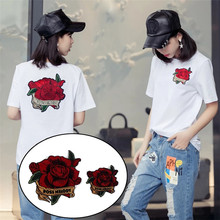 Patches for clothing T shirt Women 23.5cm Round Crane bird Embroidery patch T-shirt Fashion Tops Shirt Femmer Lady Clothes
