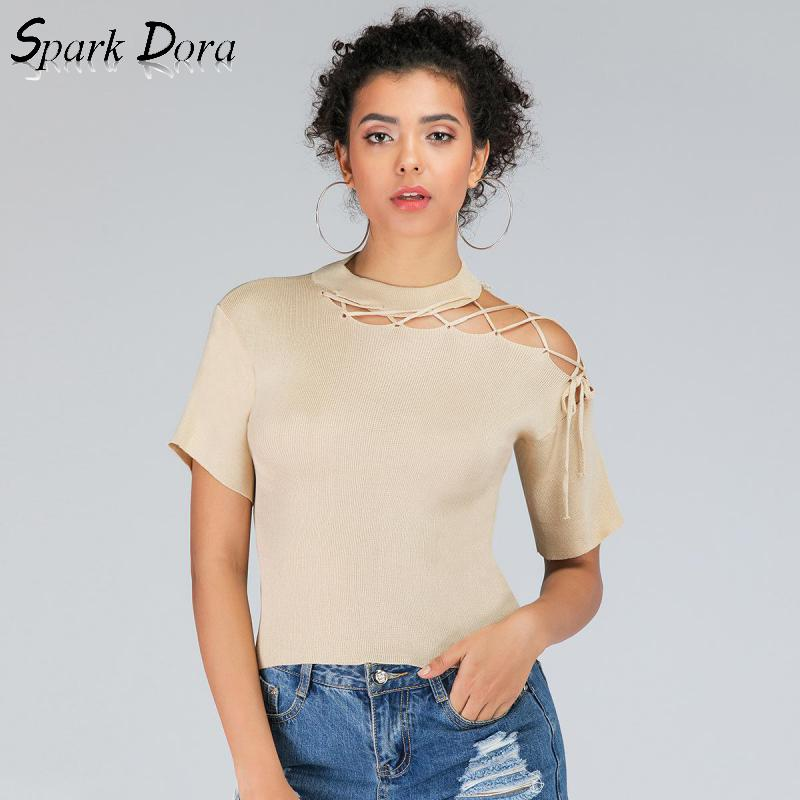 Sexy Top Crop-Top Sweater Ribbons Short Women Clothes Knitted Sparkdora Club