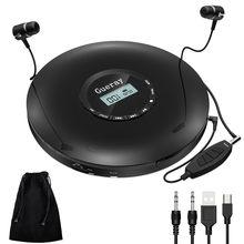 Cd player portátil com fone de ouvido, bateria recarregável de 1400mah, à prova de choque, disco musical walkman