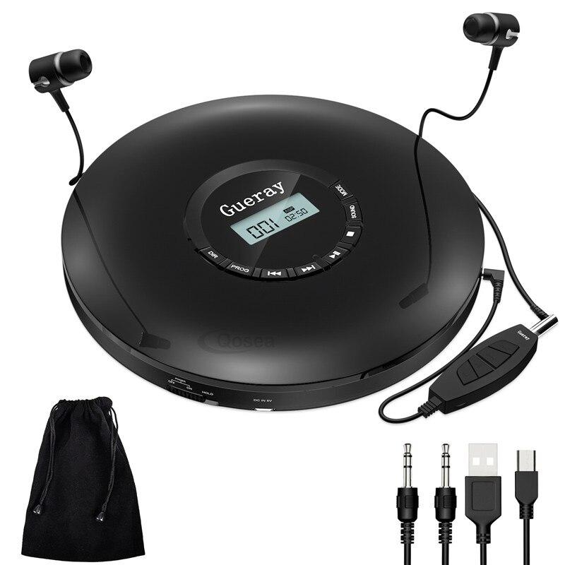 Novo estilo leitor de cd portátil com fones de ouvido 1400 mah bateria recarregável à prova de choque pessoal cd music disc walkman player qosea