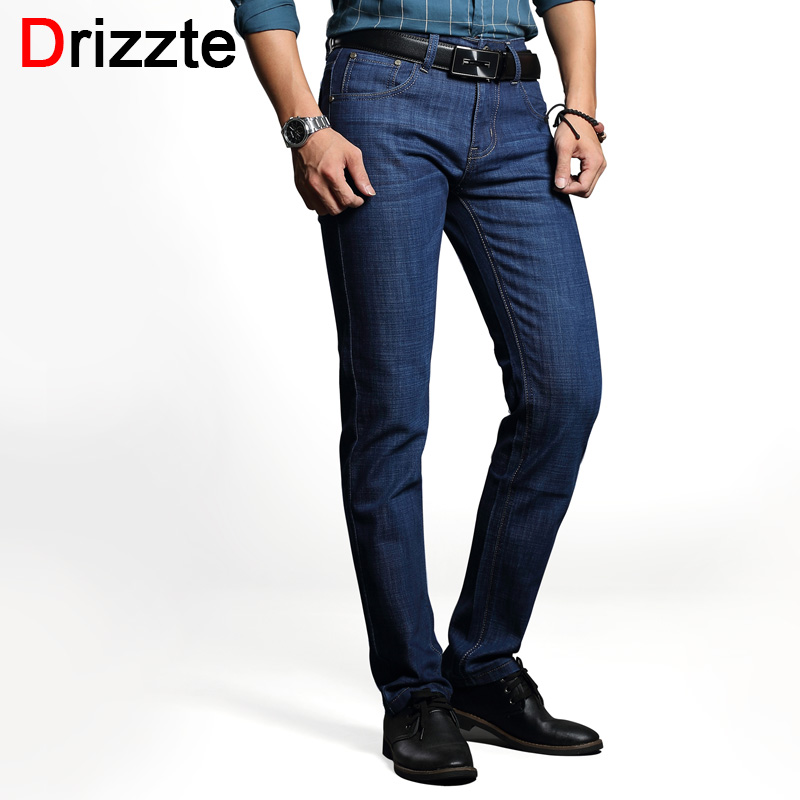 Drizzte Men's Jeans Classic Stretch Blue Denim Business Dress Straight Slim Jeans Size 34 35 36 38 Pants Trousers Jean for Men drizzte men s jeans classic stretch blue denim business dress straight slim jeans size 34 35 36 38 pants trousers jean for men