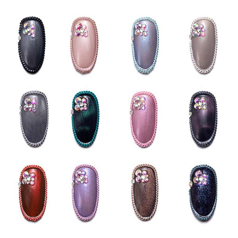 12 цветов цепочка из металлического сплава для ногтей дуги украшения ювелирные изделия розовый белый украшения из бронзы шпильки цепи 3D Ногти Аксессуары маникюр
