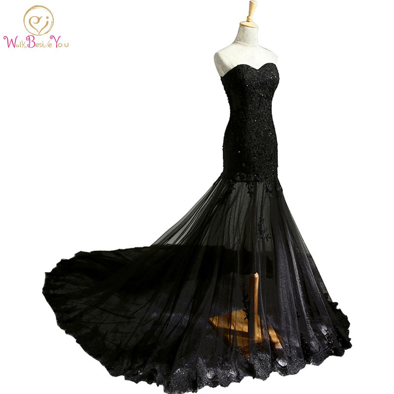 Cheap Evening Dress Strapless Black Lace Purple Satin Formal Gowns ...