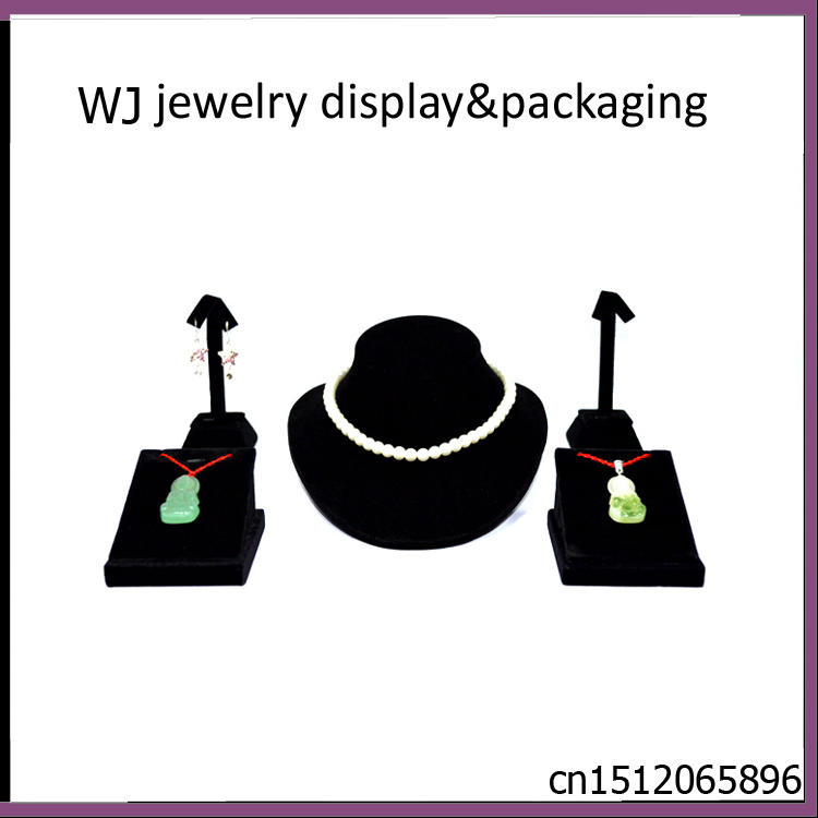 Combo Necklace Earrings Pendant Necklace Bust Black Velvet Display Stand Set Jewelry Showed Figurine Holder Case 5pcs Organizers