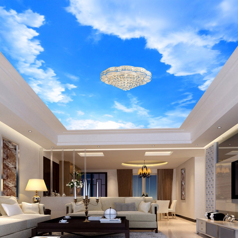 US $8 68 OFF Custom 3D Wallpaper Blue Sky And White Clouds Ceiling Mural Living Room Bedroom Ceiling Background Decoration