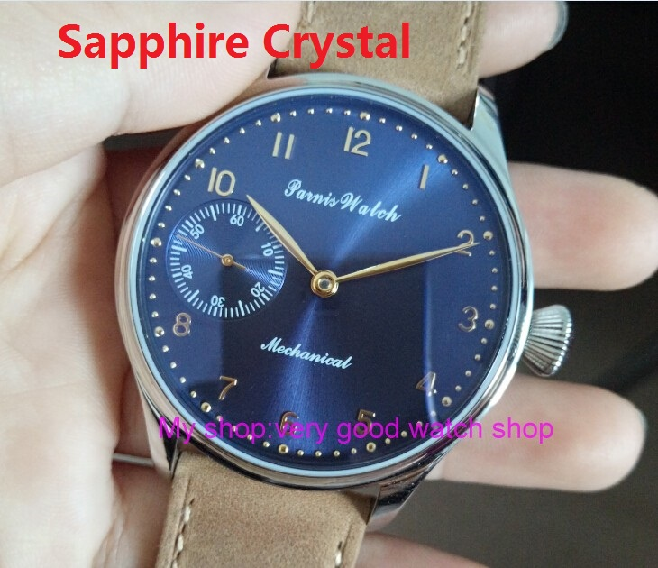 Sapphire Crystal 2017 new fashion PARNIS 44mm blue dial 6497 Mechanical Hand Wind movement High quality men's watch 67A 2016 new fashion 44mm parnis pilot black dial 6497 3600 mechanical hand wind movement sapphire crystal men s watch 63a