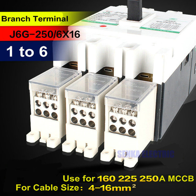 3 pcs/lot 1 to 6 Branches Circuit Breaker Switch Terminal Block for ...