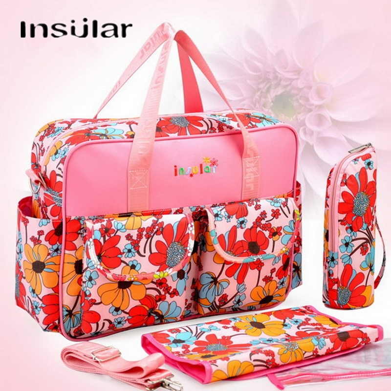 INSULAR 4 IN 1 Large Travel Diaper Bag Set Nappy Maternity Baby Bags Shoulder/Stroller/Messenger/ Totes With Lots Accessories