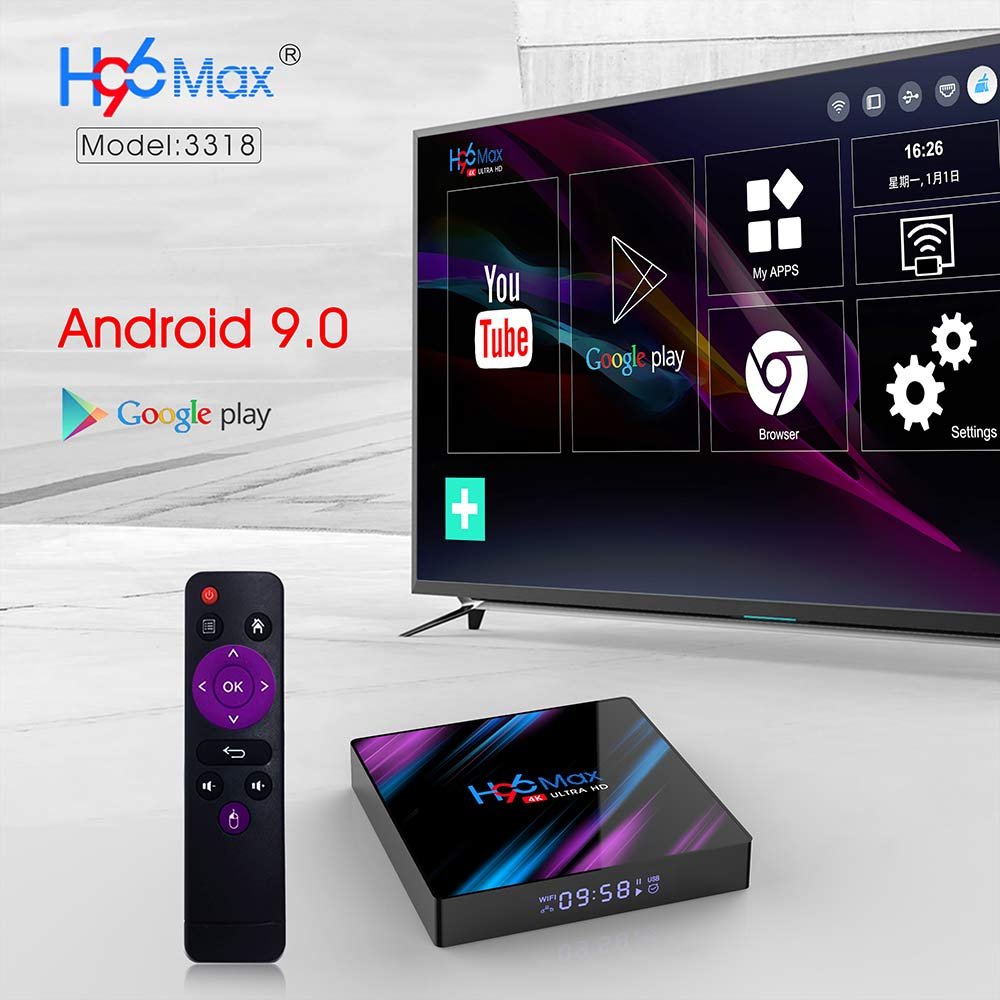 Image 3 - Android 9.0 TV Box H96 Max Rockchip RK3318 4K Smart TV Box 2.4G&5G Wifi BT4.0 H96Max 4GB 64GB Media Player Android Set Top Box-in Set-top Boxes from Consumer Electronics