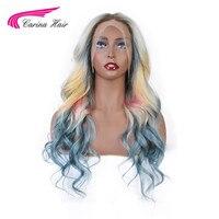 Карина 613 блондинка спереди кружево парик для женщин Бразильский смешанный синий розовый желтый блондин Ombre Цвет Длинные волнистые