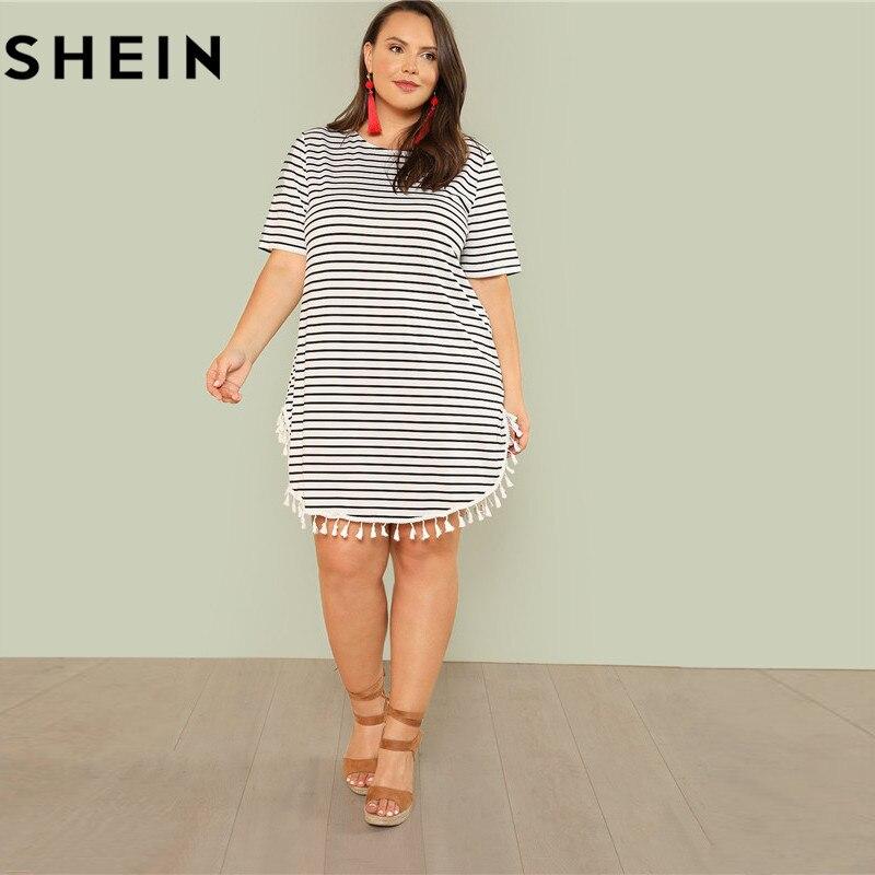 SHEIN Black and White Stripe Plus Size Straight Casual Mini Dress Women Summer Tassel Embellished Curved Hem Short Dresses 1