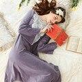 Estilo coreano Camisola Pijamas Feminino Princesa Do Laço Do Vintage de Manga Longa Pijamas Outono Inverno Veludo Sleepwear Nightdress