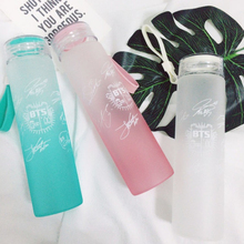 New Kpop ARMY BTS Bangtan Boys BT21 Official The Same Gradient Frosted Glass Water Bottle Sorry Jimin V Jungkook Is Mine Cup Онихомикоз