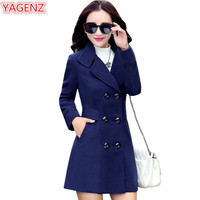 YAGENZ Blends Woolens Overcoat Female Coat Autumn Winter Coats And Jackets Women Plus size Coat Women's Wool Coats Long Tops 647